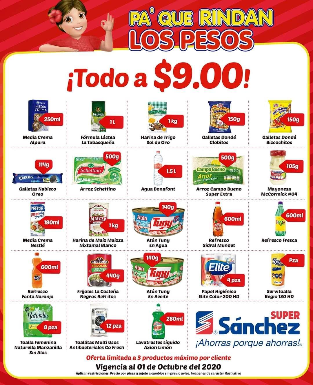 Super Sánchez: Productos a $9 (descripción)