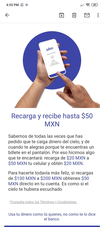 Albo te regala $20 pesos o $50 al recargar cualquier compañía.