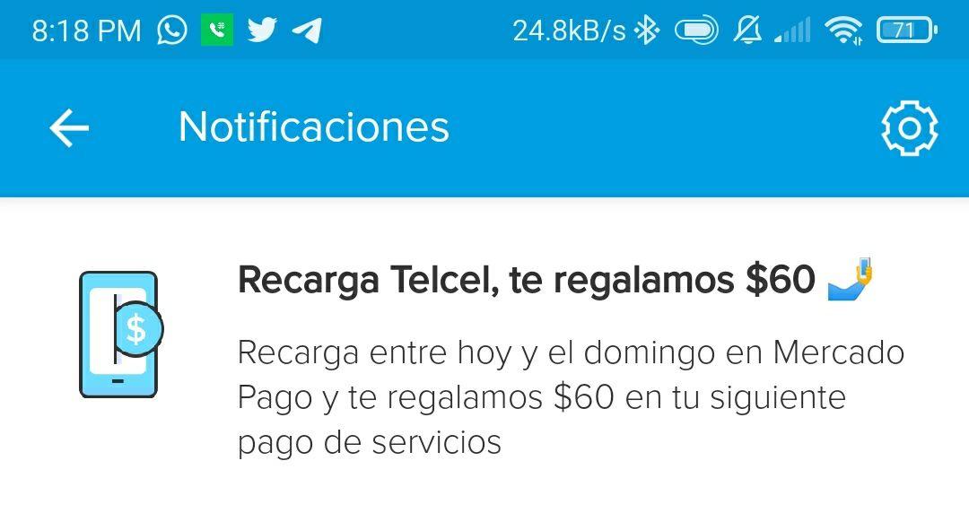 MercadoPago: Recarga Telcel y $60 pesos de descuento en próximo pago de servicios.