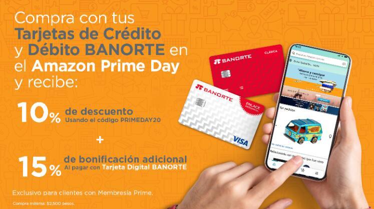 Amazon: 10% de Descuento + 15% Bonificación durante Prime Day BANORTE