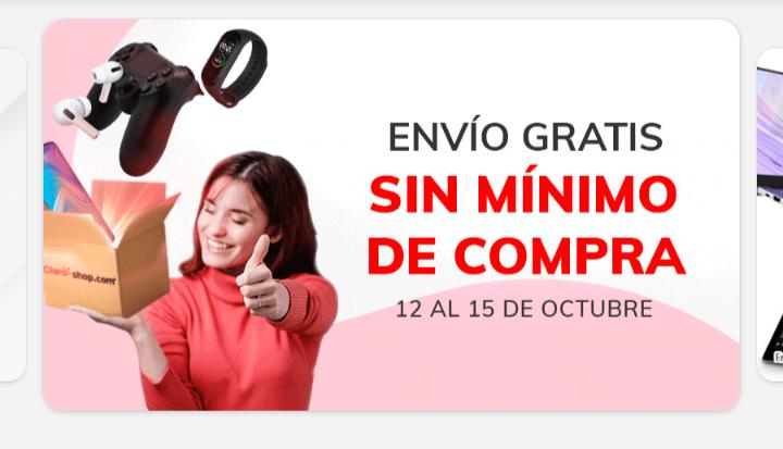 Claroshop: Envío gratis sin mínimo de compra del 12 al 15 de octubre