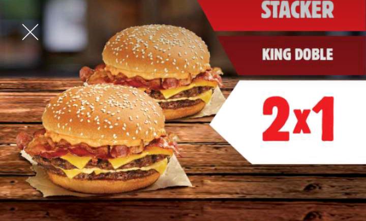 Burger King : 2X1 en Stacker King Doble y más promociones