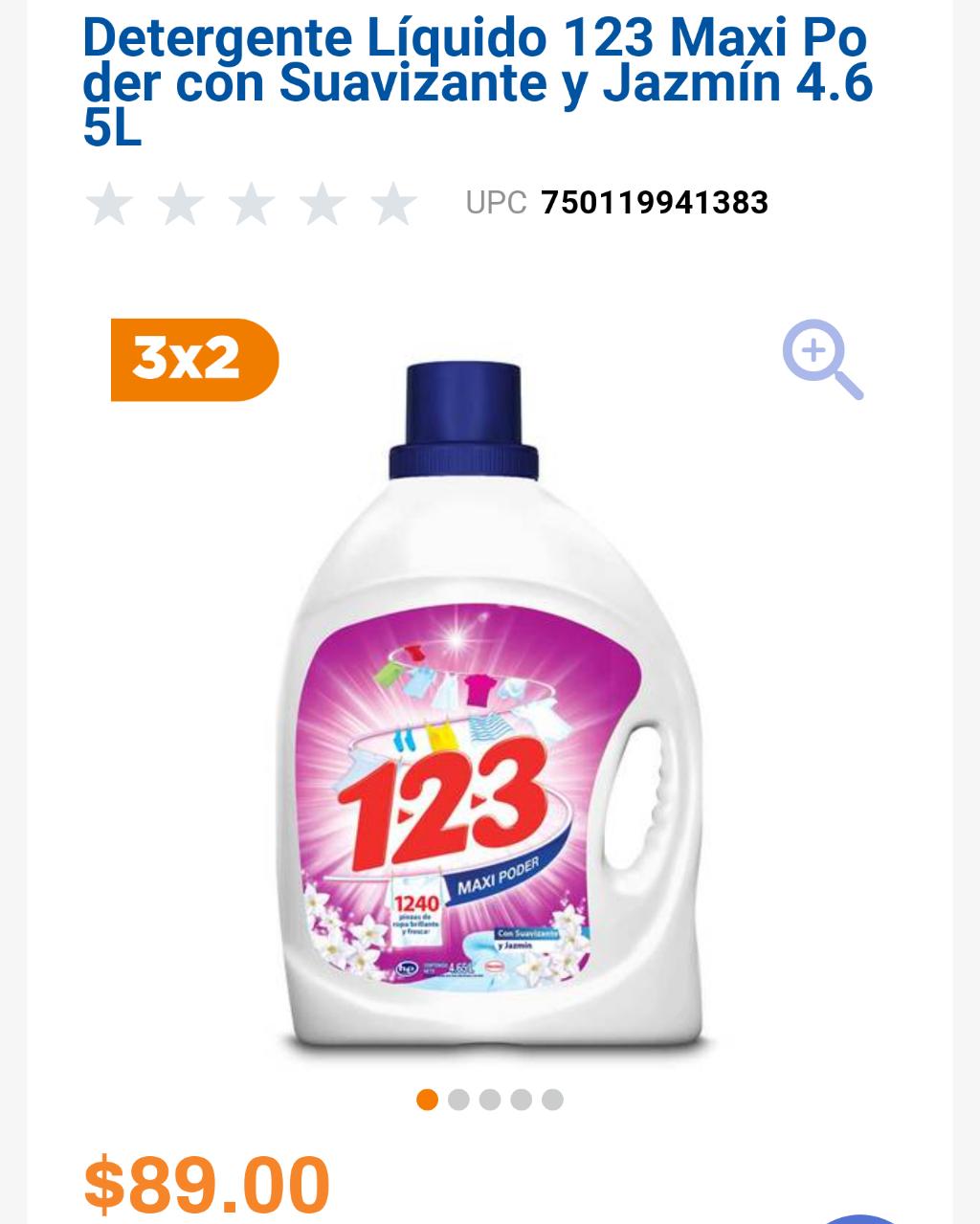 Chedraui: Detergente Líquido 123 Maxi Poder con Suavizante y Jazmín 4.65L