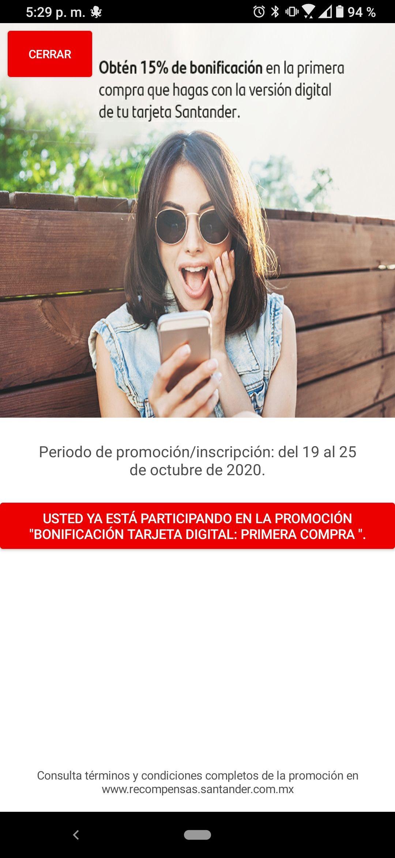 Santander - 15% en primer compra con tarjeta digital