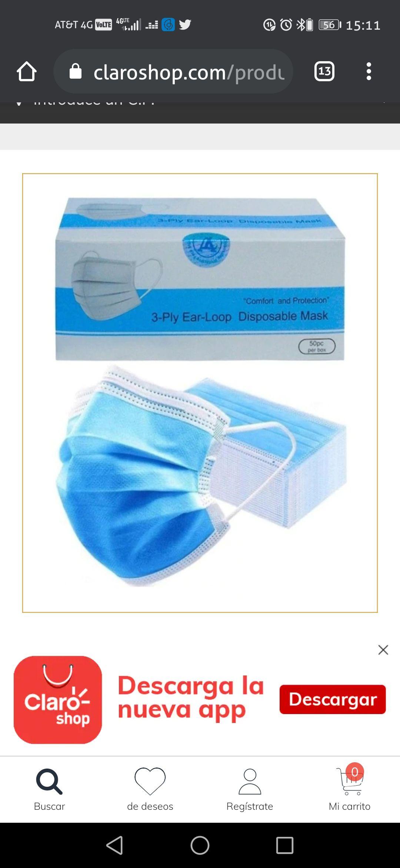 Claro Shop: Tapabocas Cubrebocas 3 Capas Con Filtro Protector 50 Piezas