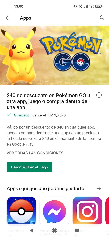 Google Play: $40 de descuento en compras dentro de una app (usuarios seleccionados)
