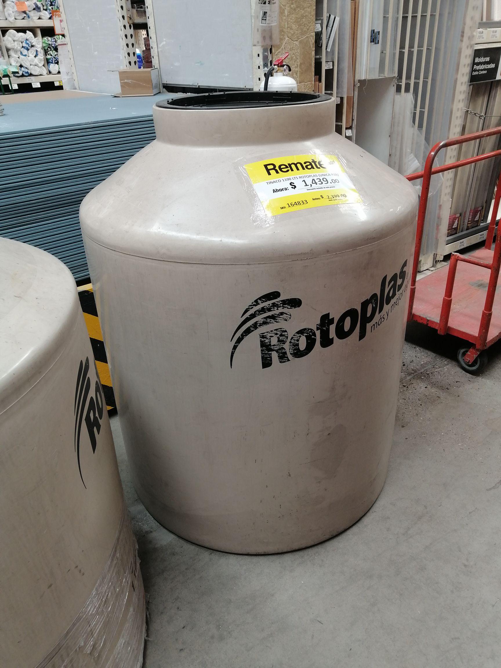 Home Depot Tinaco rotoplas 1,100 L y Combo urrea wc
