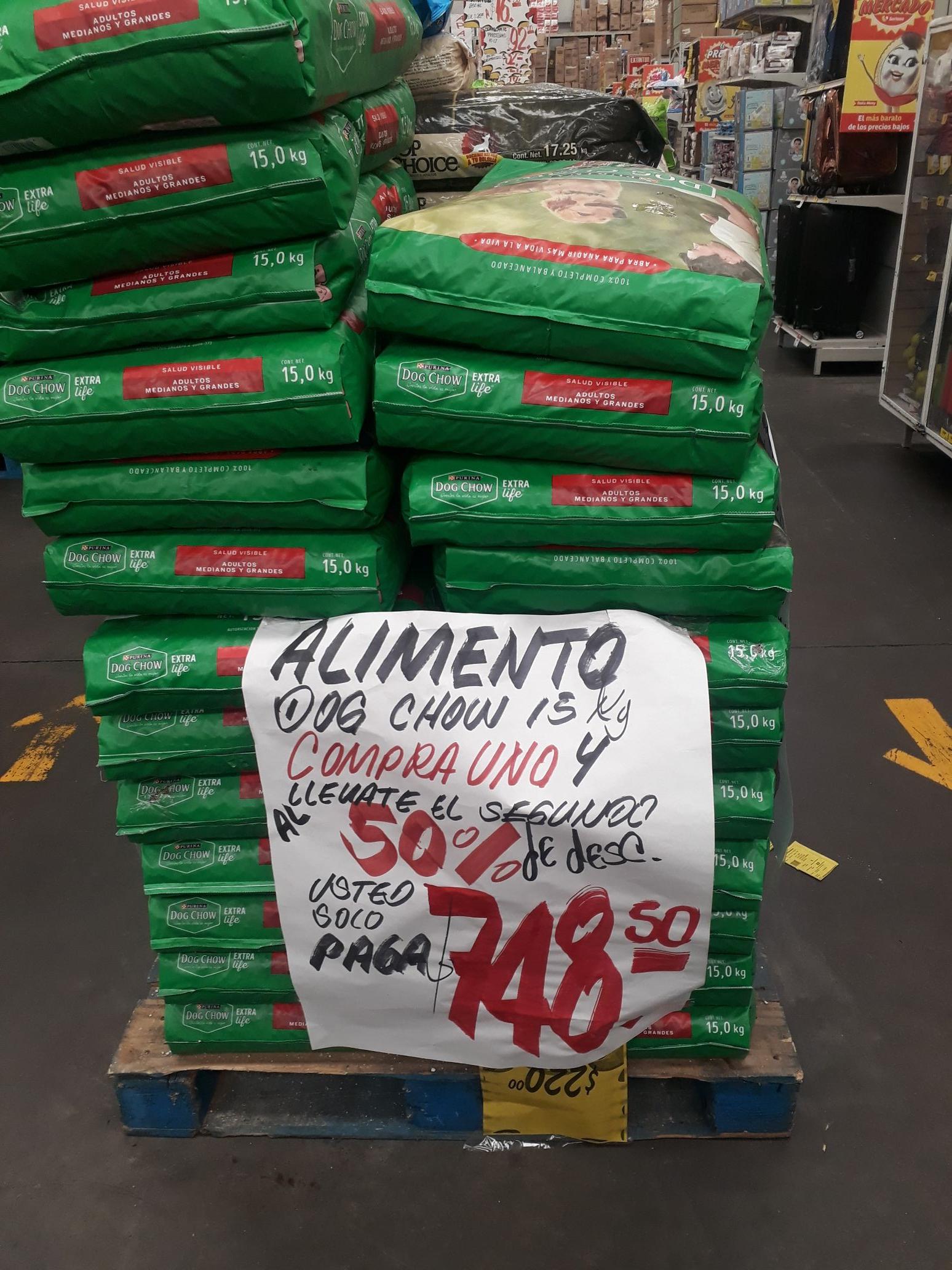 Mercado soriana: Purina DOG CHOW extra life 15 Kg (2x$748)