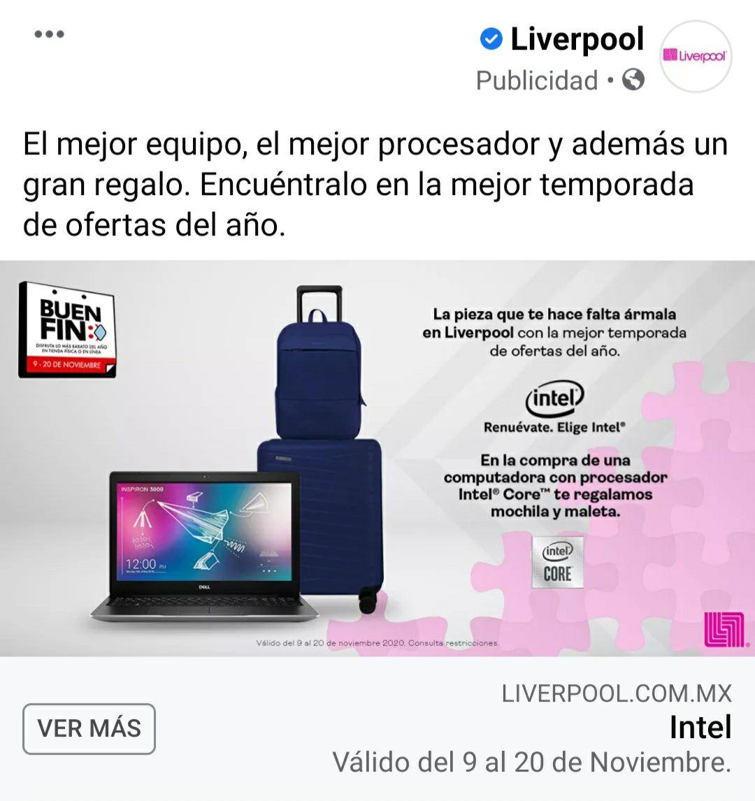 Liverpool: Maleta y mochila gratis al comprar una computadora Intel