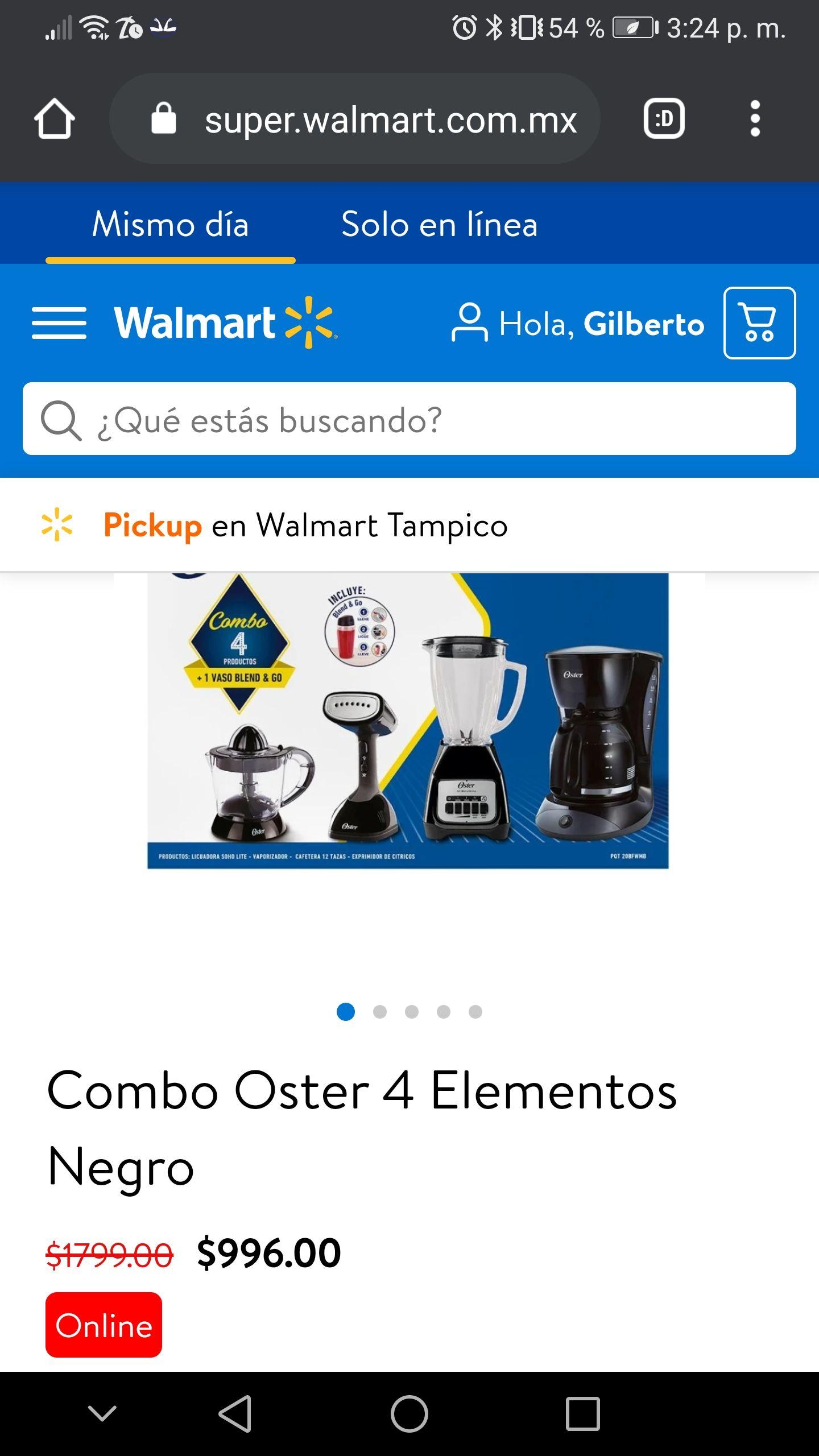 Walmart en línea combo Oster Delux 4 piezas de $1,799 a $996
