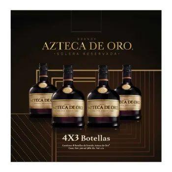 Sam's club:16 piezas Brandy Azteca de Oro Solera de 700 ml (leer bien) 4*3 c/u en $81
