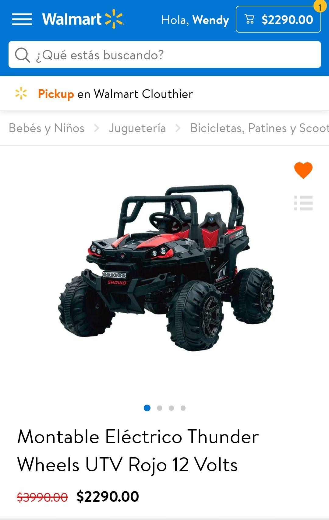 Walmart súper en línea: Montable Eléctrico Thunder Wheels UTV Rojo 12 Volts