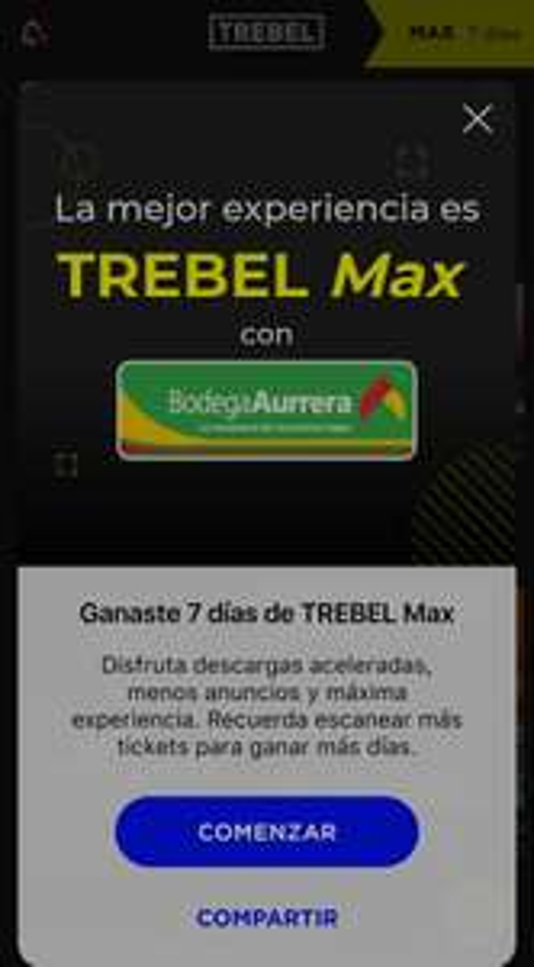 Trebel Max(música grátis sin anuncios): 7 dias Gratis al escanear codigo de Walmart o Bodega Aurrera