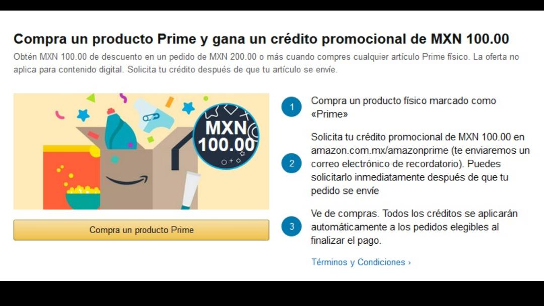 Amazon: Gratis credito de 100 MXN (usuarios seleccionados)