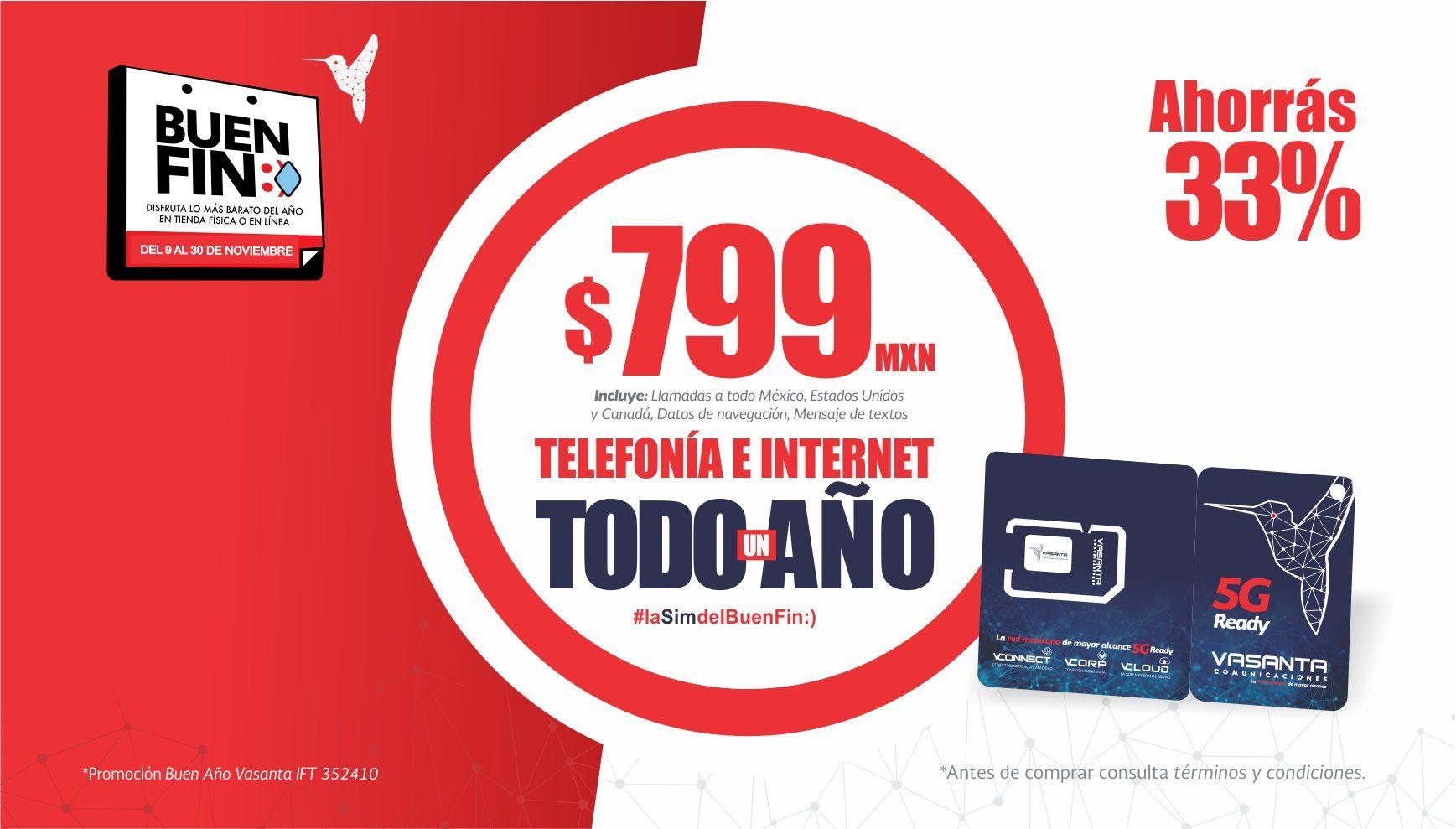 Telefonía Vasanta 1 año de servicio de 5GB al mes por $799