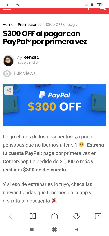 Cornershop: $300 de descuento en primer pago con Paypal
