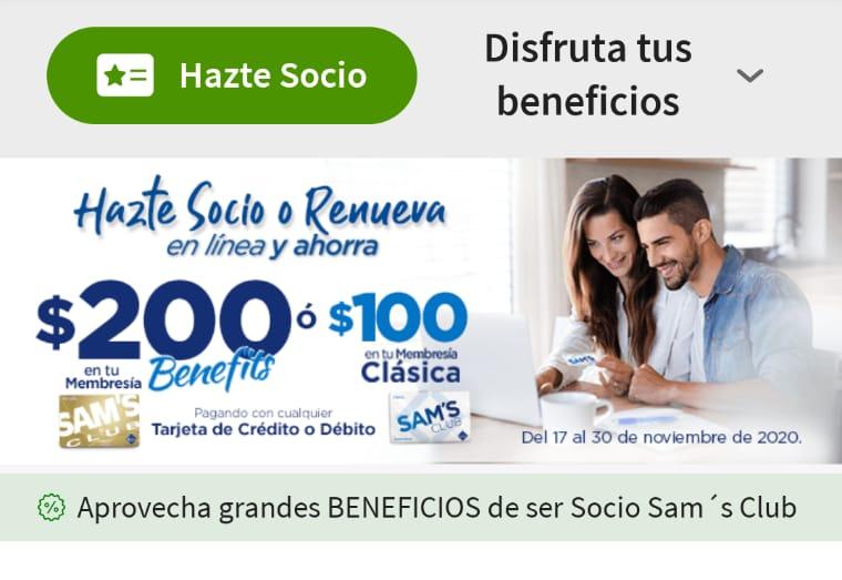 Sam's Club: Membresia benefits y clasica con descuento. ( En linea)