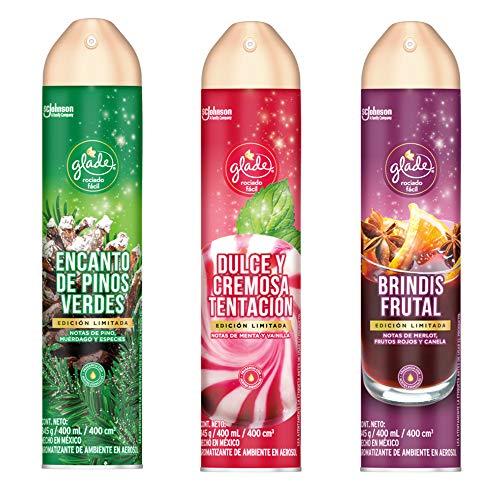 Amazon: Pack Glade Holiday: Encanto de Pinos Verdes, Dulce y Cremosa Tentación y Brindis Frutal 400ml c/u