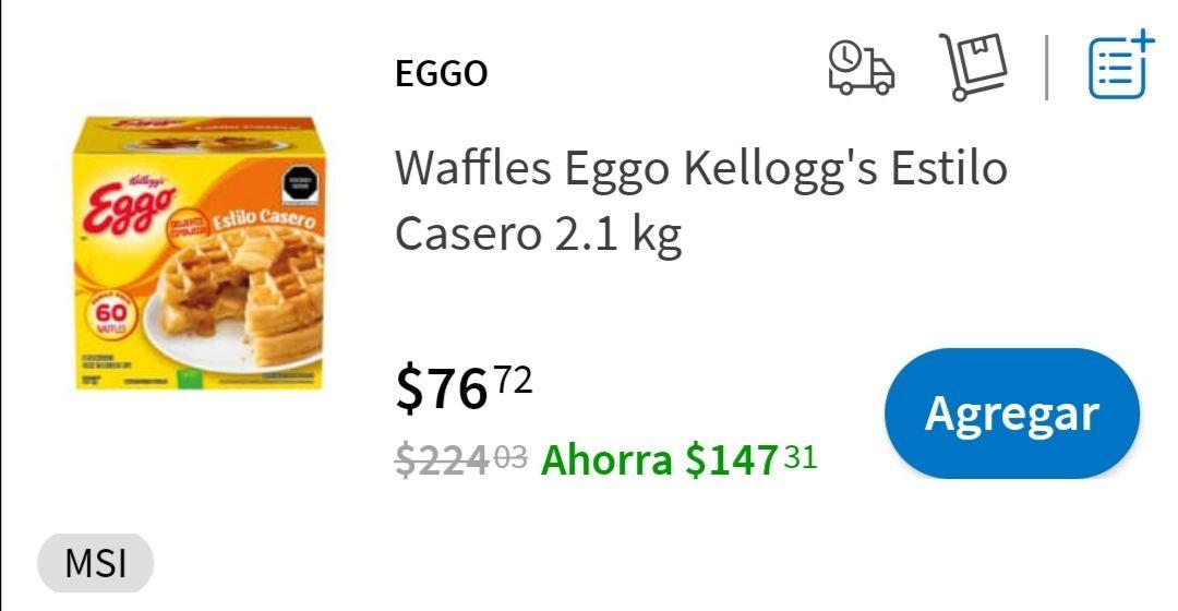 Sams Club: 60 Wafles eggo kellogg's en $76, en línea