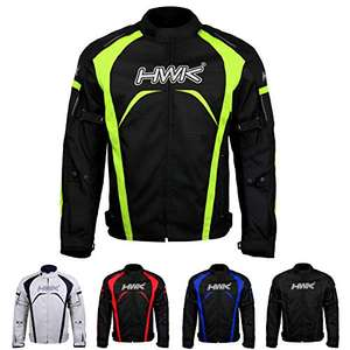 AMAZON HWK Chamarra de motociclista, tela impermeable de alta visibilidad, protección CE