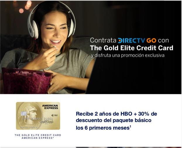 Contrata DIRECTV GO y obtén 30% de descuento por 6 meses + 2 años de HBO con AMEX The Gold Credit Card