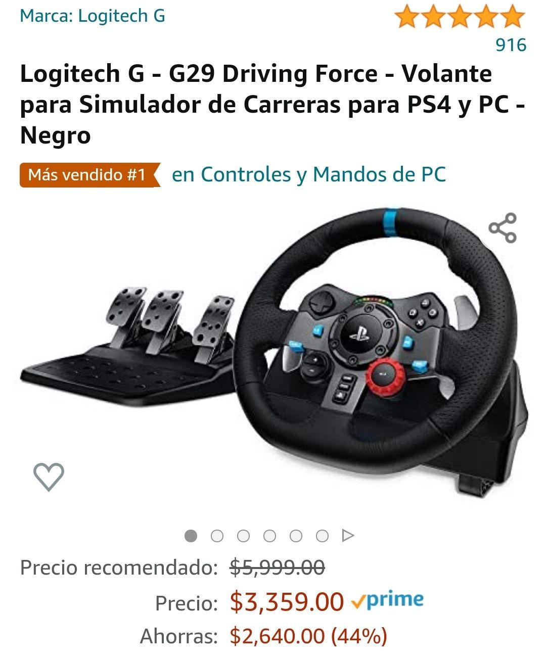 Amazon: Volante Logitech G29 vendido y enviado por Amazon México