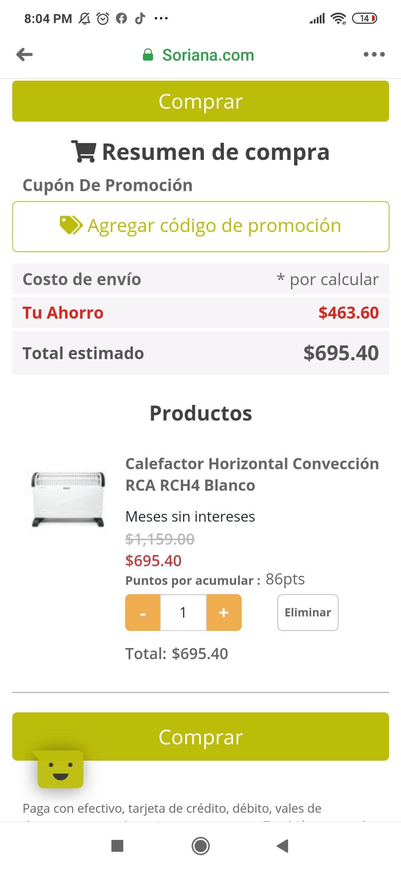 Soriana: Calefactor RCA