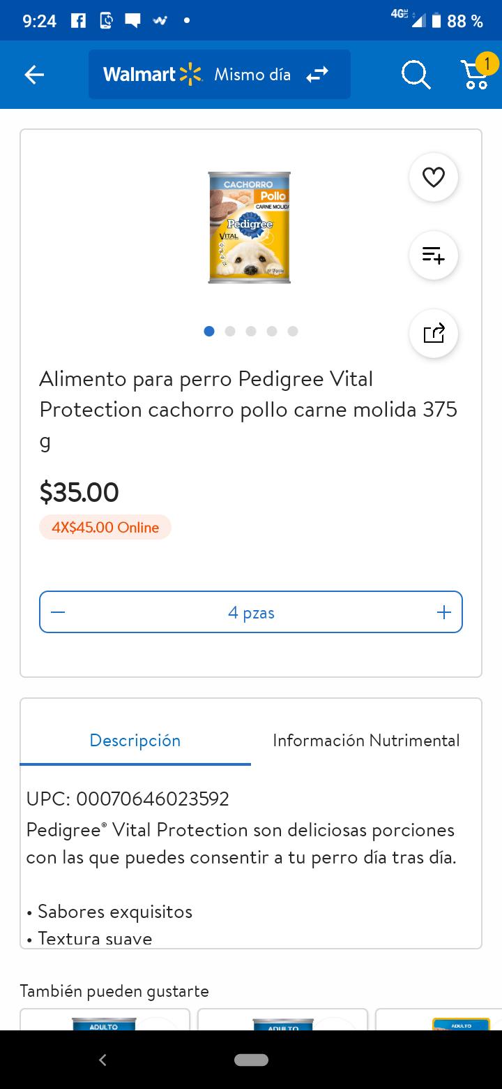 Walmart: 4 latas de Pedigree Cachorro por $45 pesos (Deben iniciar sesión para que les de el precio)