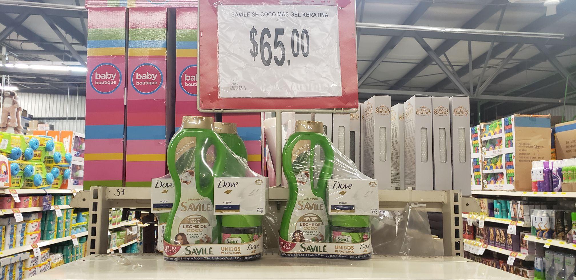 Bodega Aurrera: Paquete Shampoo+Gel+2 Jabones Dove