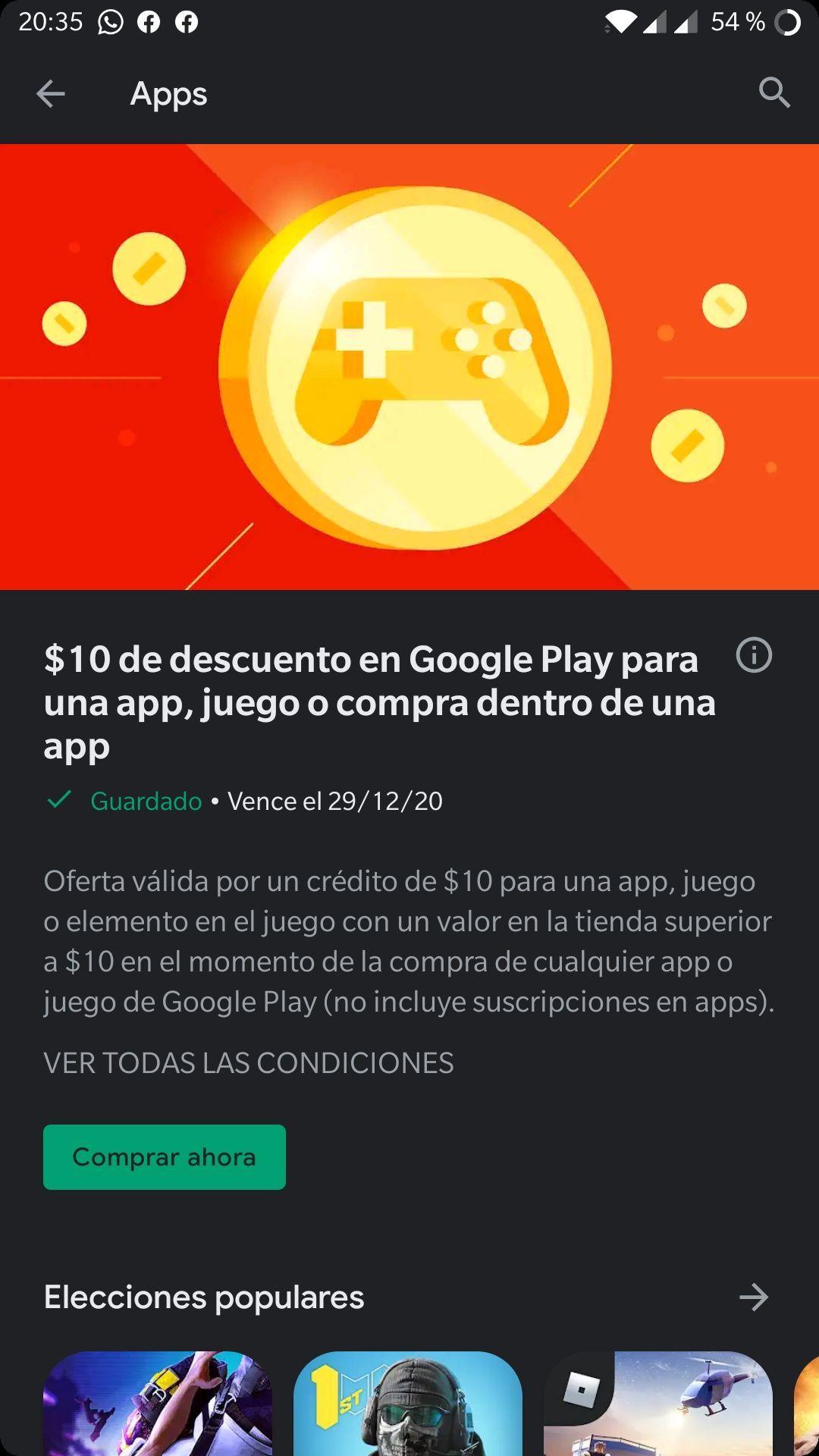 Google Play: 10 pesos de descuento en una compra de app o juego