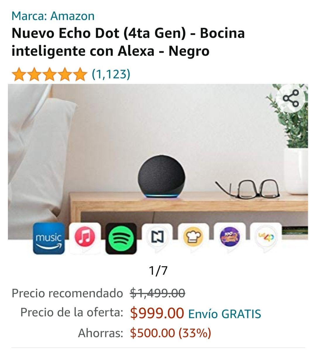 Best Buy: Bocina Echo Dot con Alexa (4ta Generación) - Negro -
