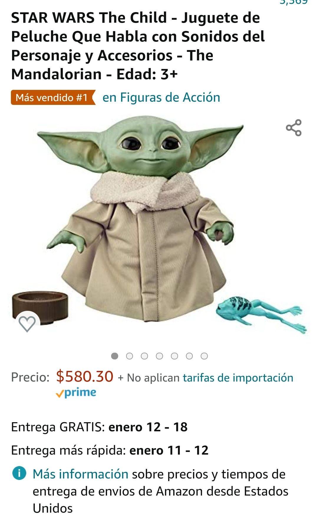 Amazon: Baby yoda peluche que habla