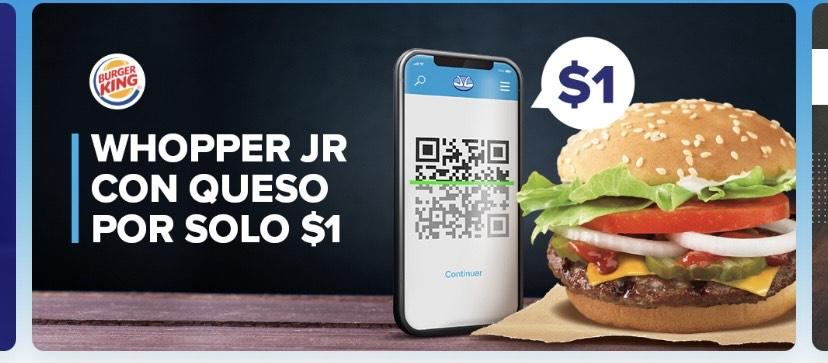 Mercado Pago: Whopper JR con queso