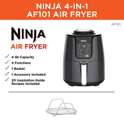 Amazon: Ninja - Freidora de aire, Negro/Gris, 3,78L, 1, 4.9