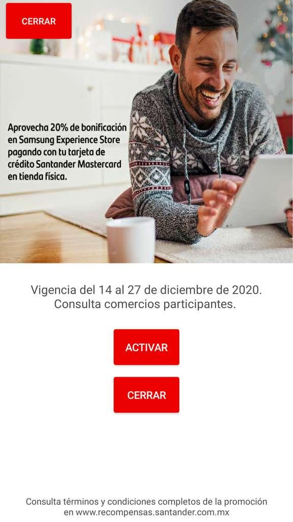 Samsung Experience Store: 20% de Bonificación pagando con Santander-Mastercard (sin límite de clientes ni de bonificación)