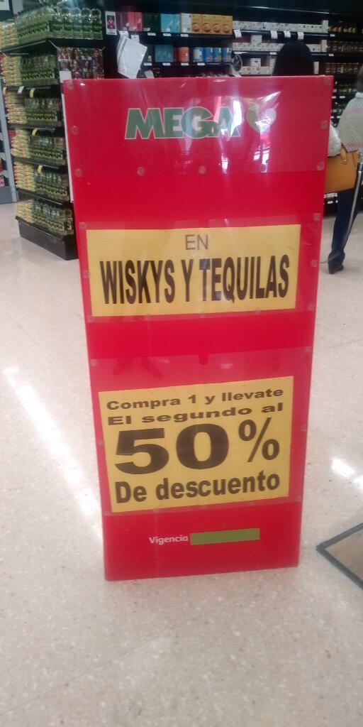 Soriana: Tequilas y whiskys; compra 1 llevate el segundo al 50% de descuento