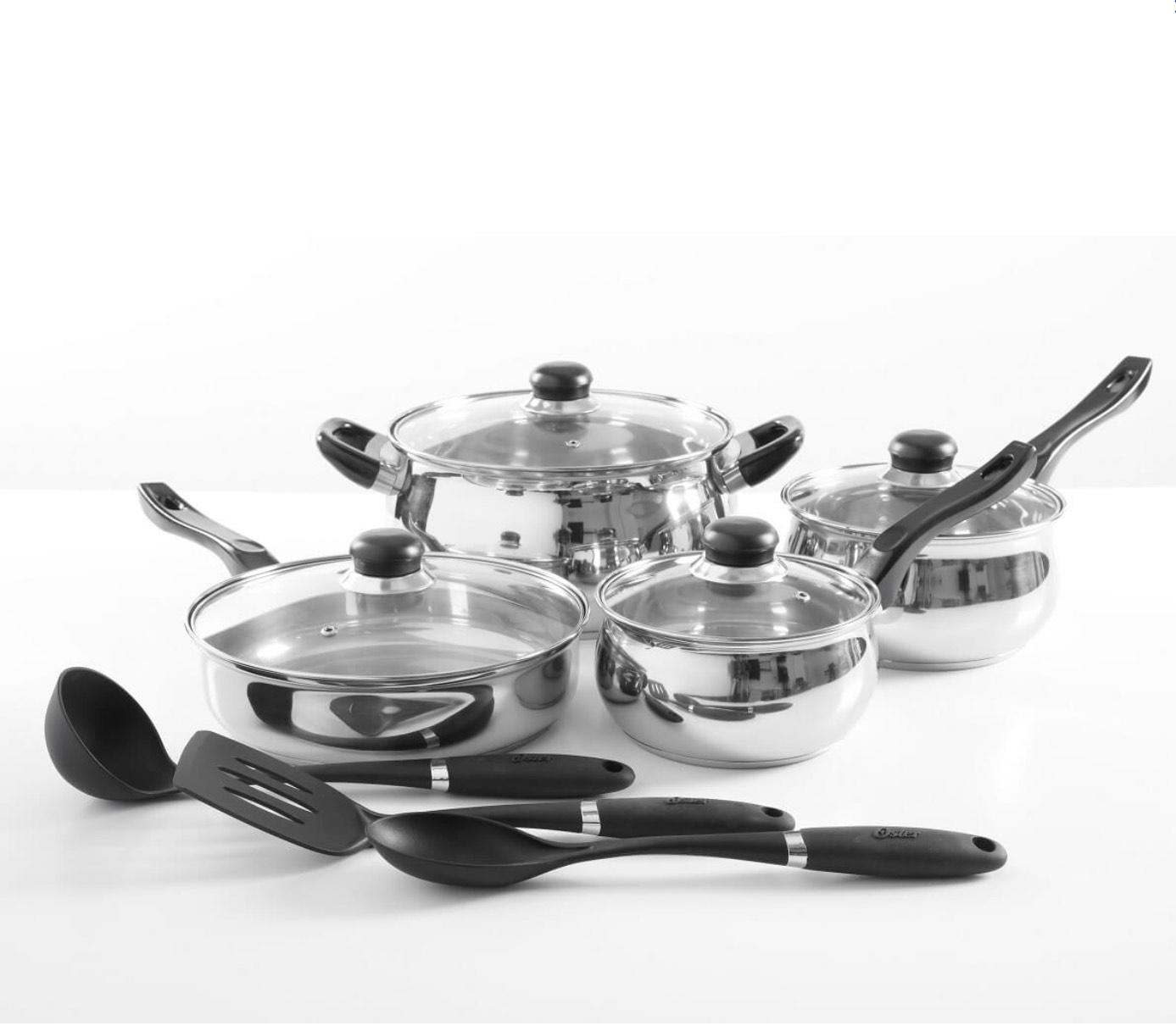 Oster - Batería de Acero con 11 piezas para la cocina - Plata - Best Buy
