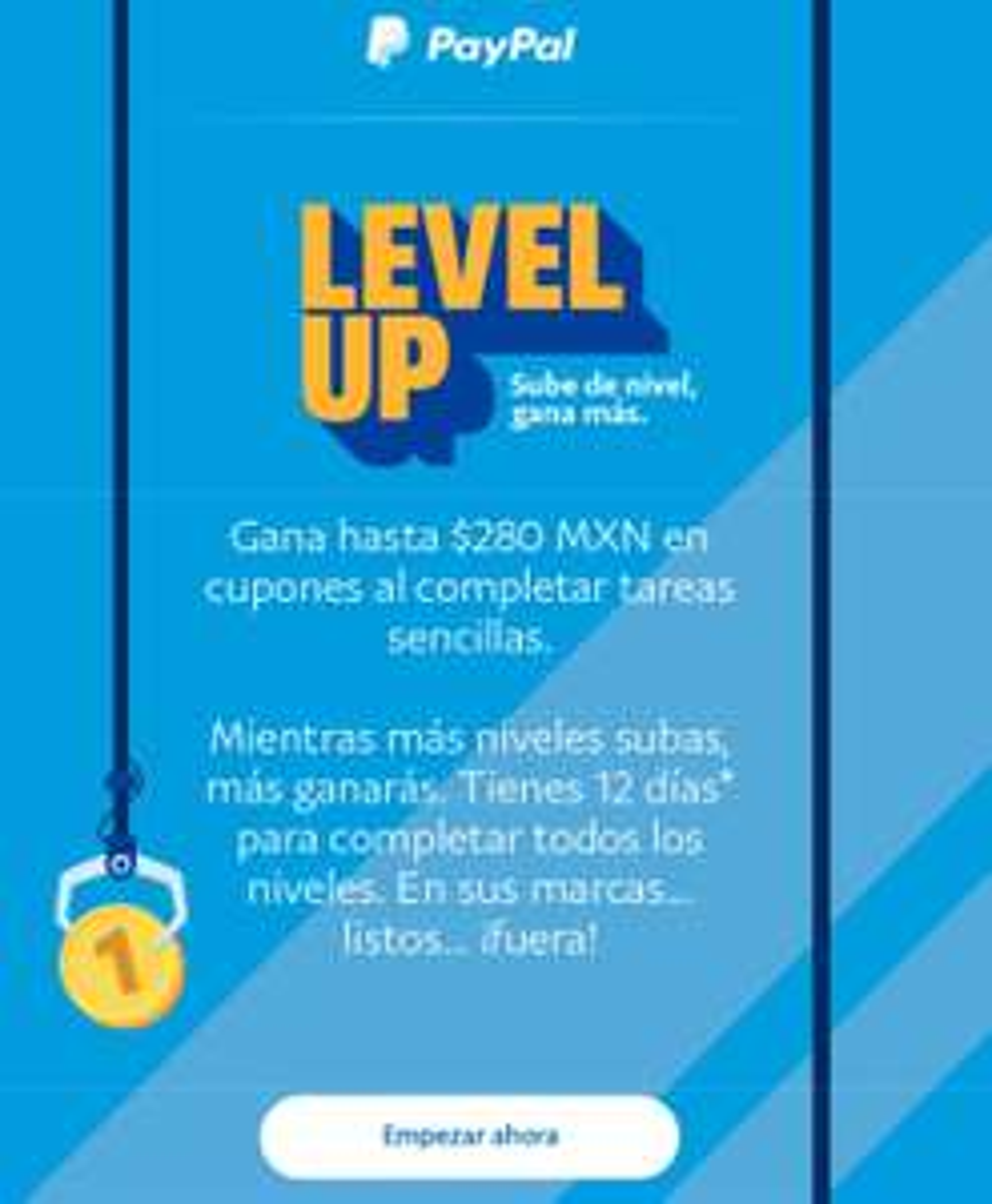 Paypal: LevelUp. Gana hasta $280 pesos en cupones (usuarios seleccionados)