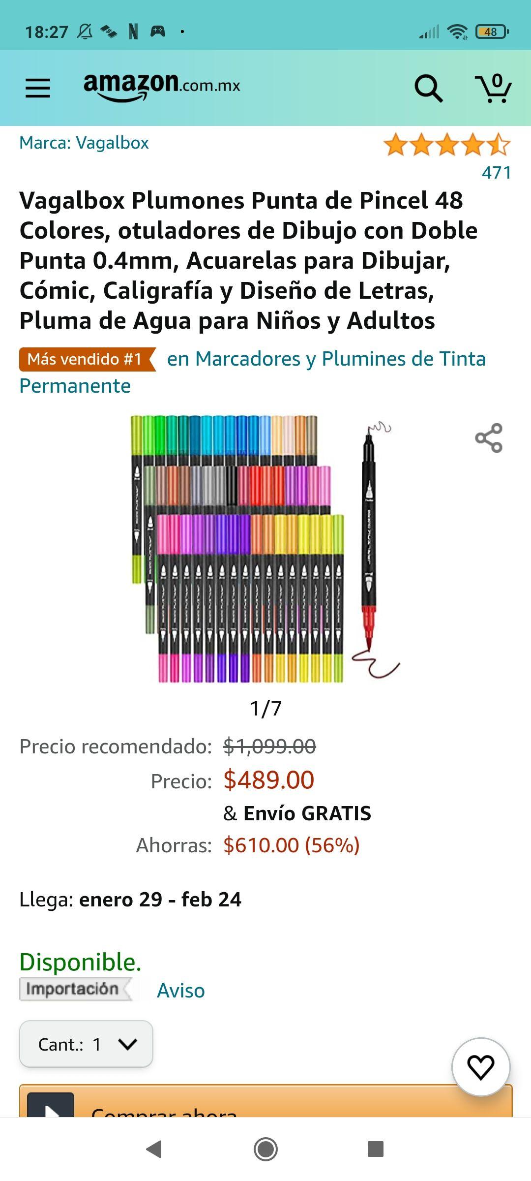Amazon: Vagalbox Plumones Punta de Pincel 48 Colores, otuladores de Dibujo con Doble Punta 0.4mm
