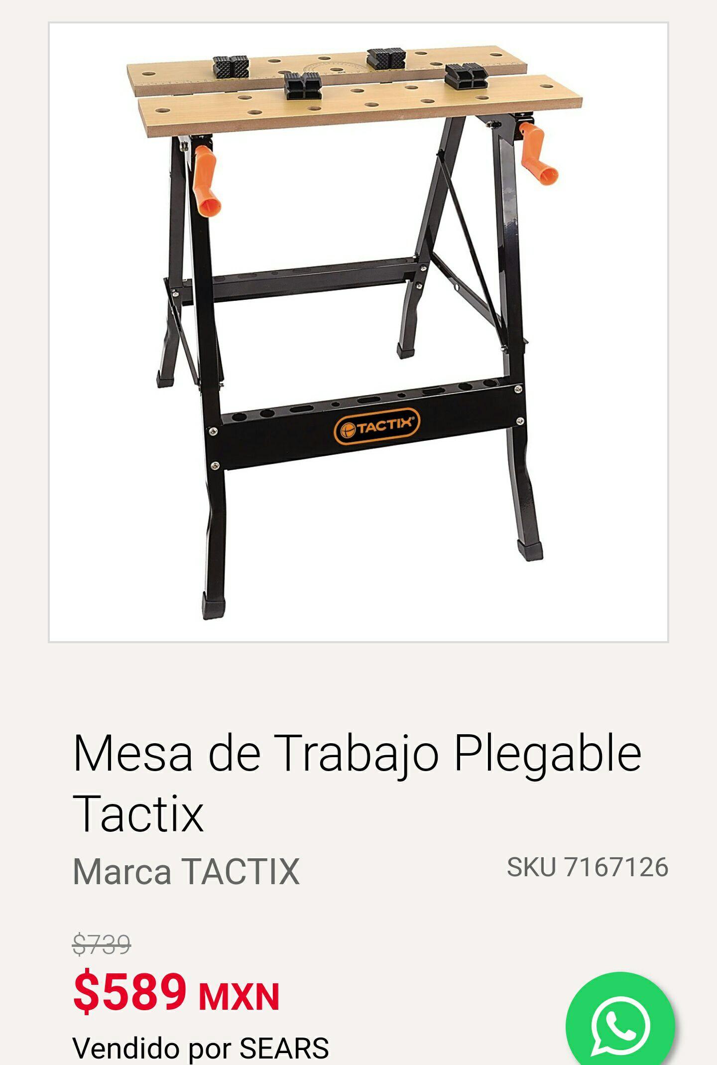 Sears: Mesa de Trabajo Plegable Tactix