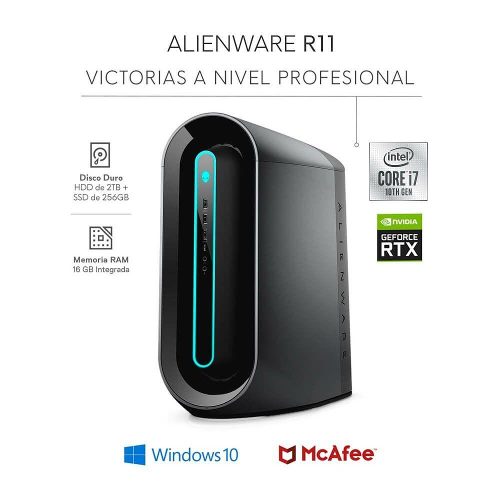 Best BIY: Alienware- Desktop AURORA R11- NVIDIA GeForce RTX 2080 - Core i7 - Memoria 16GB - HDD 2TB+SSD 256GB - Negro