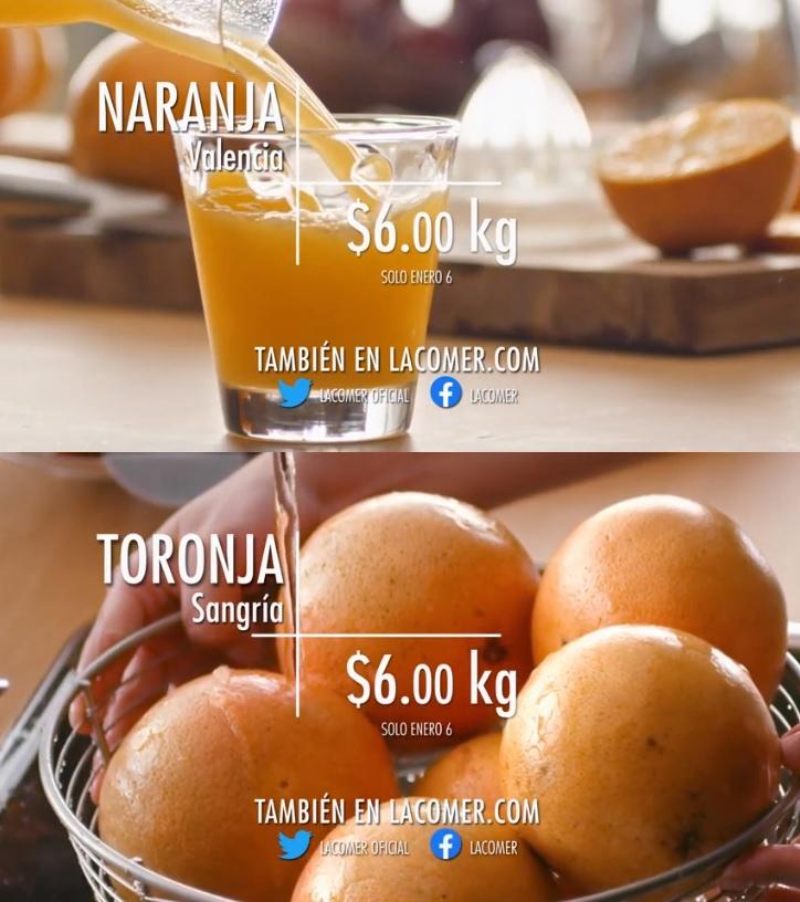 La Comer y Fresko: Miércoles de Plaza 6 Enero: Naranja ó Toronja $6.00 kg... Jitomate ó Papaya $19.50 kg.
