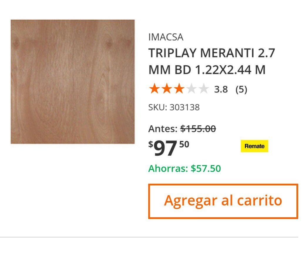 Home Depot: TRIPLAY MERANTI 2.7 MM BD 1.22X2.44 M