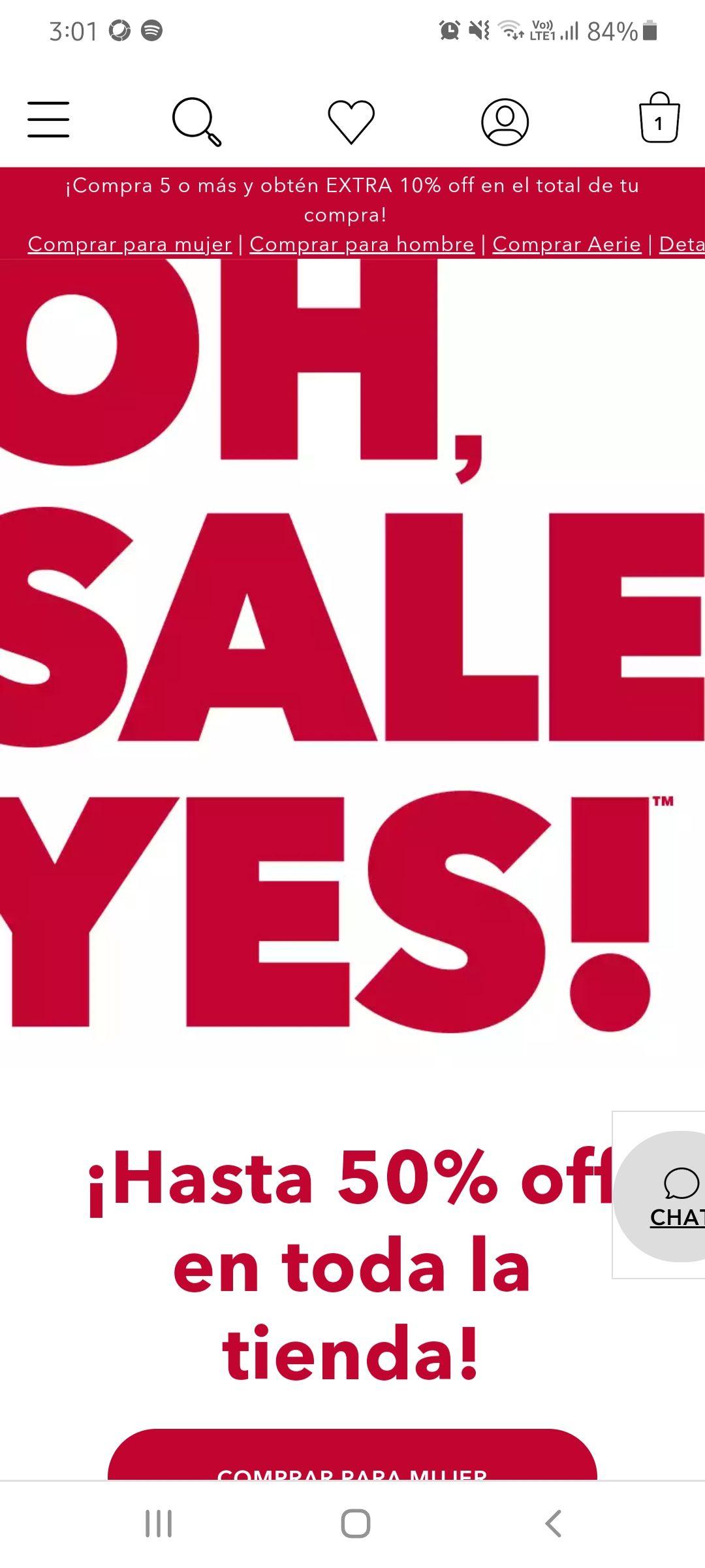 American Eagle: Rebajas - Hasta 50% off en toda la tienda