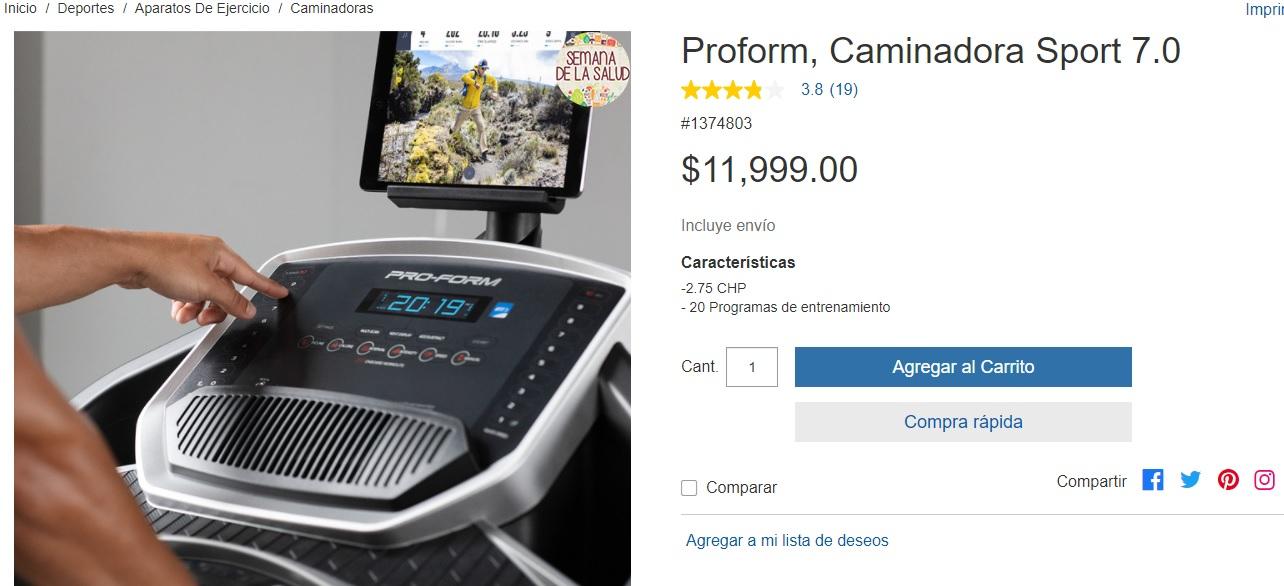 Costco - Proform, Caminadora Sport 7.0