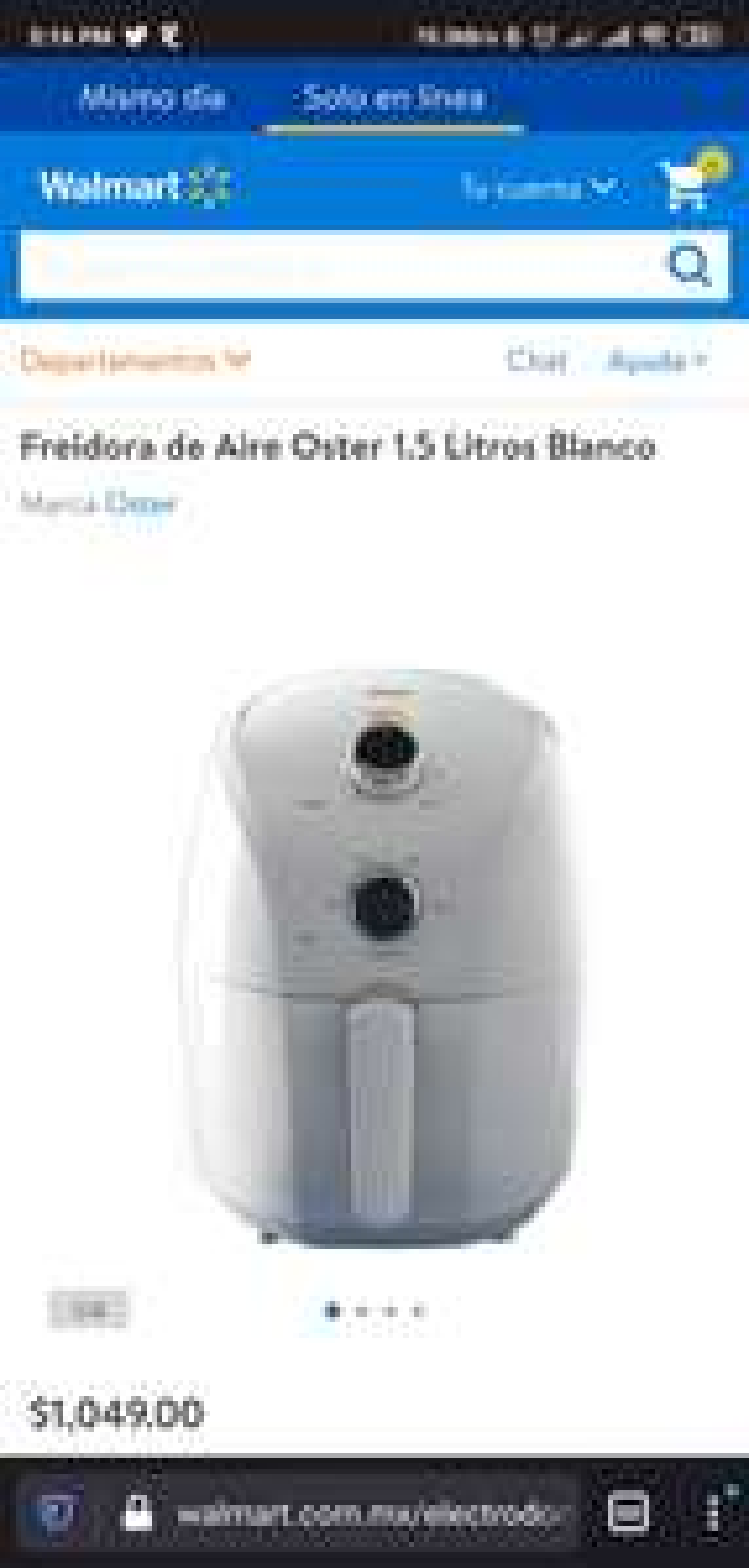 Walmart: Freidora de Aire Oster 1.5 Litros Blanco