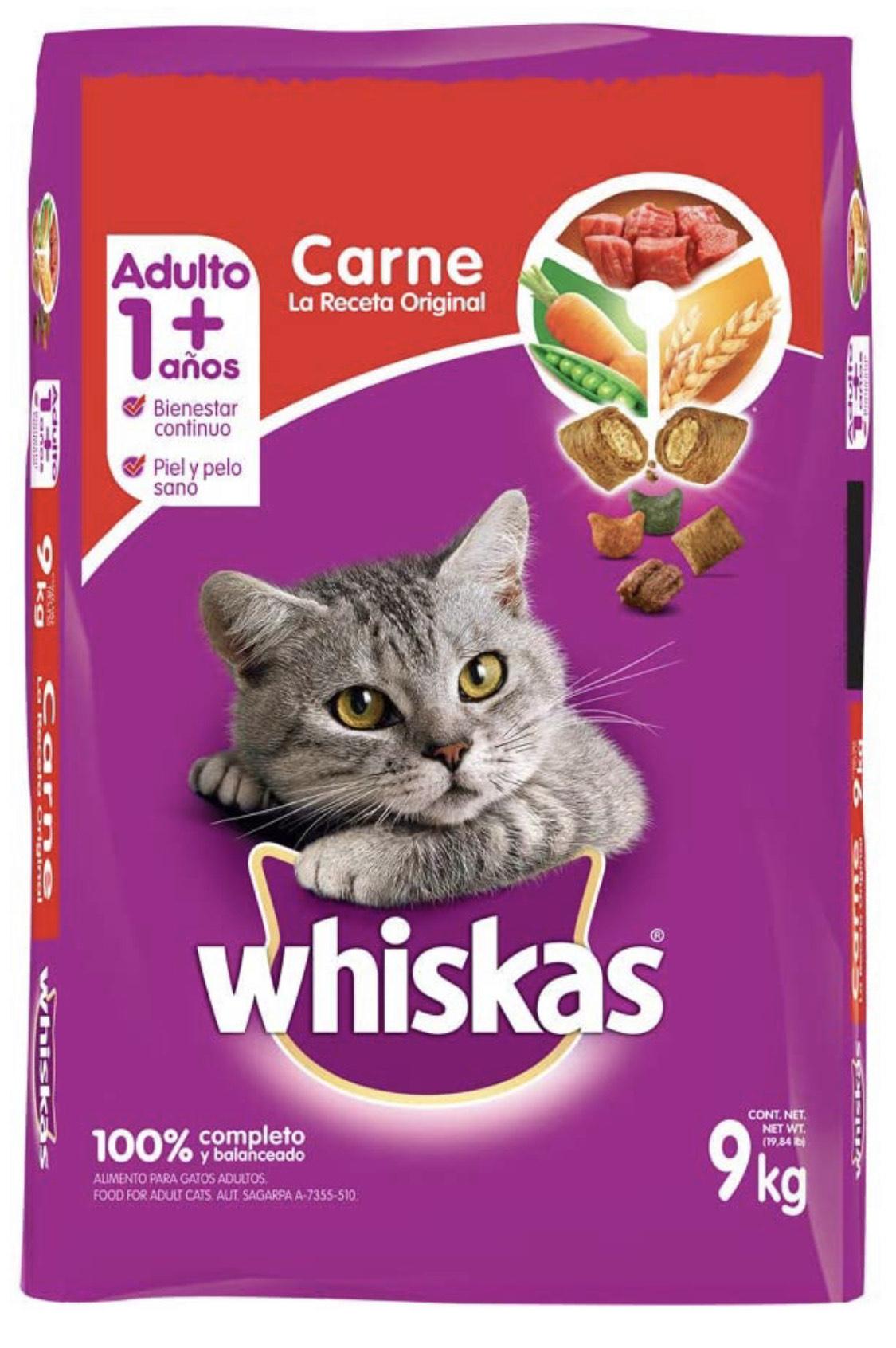 Amazon: Whiskas Whiskas alimento para Gatos Adultos. Sabor Carne (Receta Orginal) 9Kg,