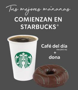 Starbucks: CAFE DEL DÍA + DONA DE CHOCOLATE A PRECIO ESPECIAL