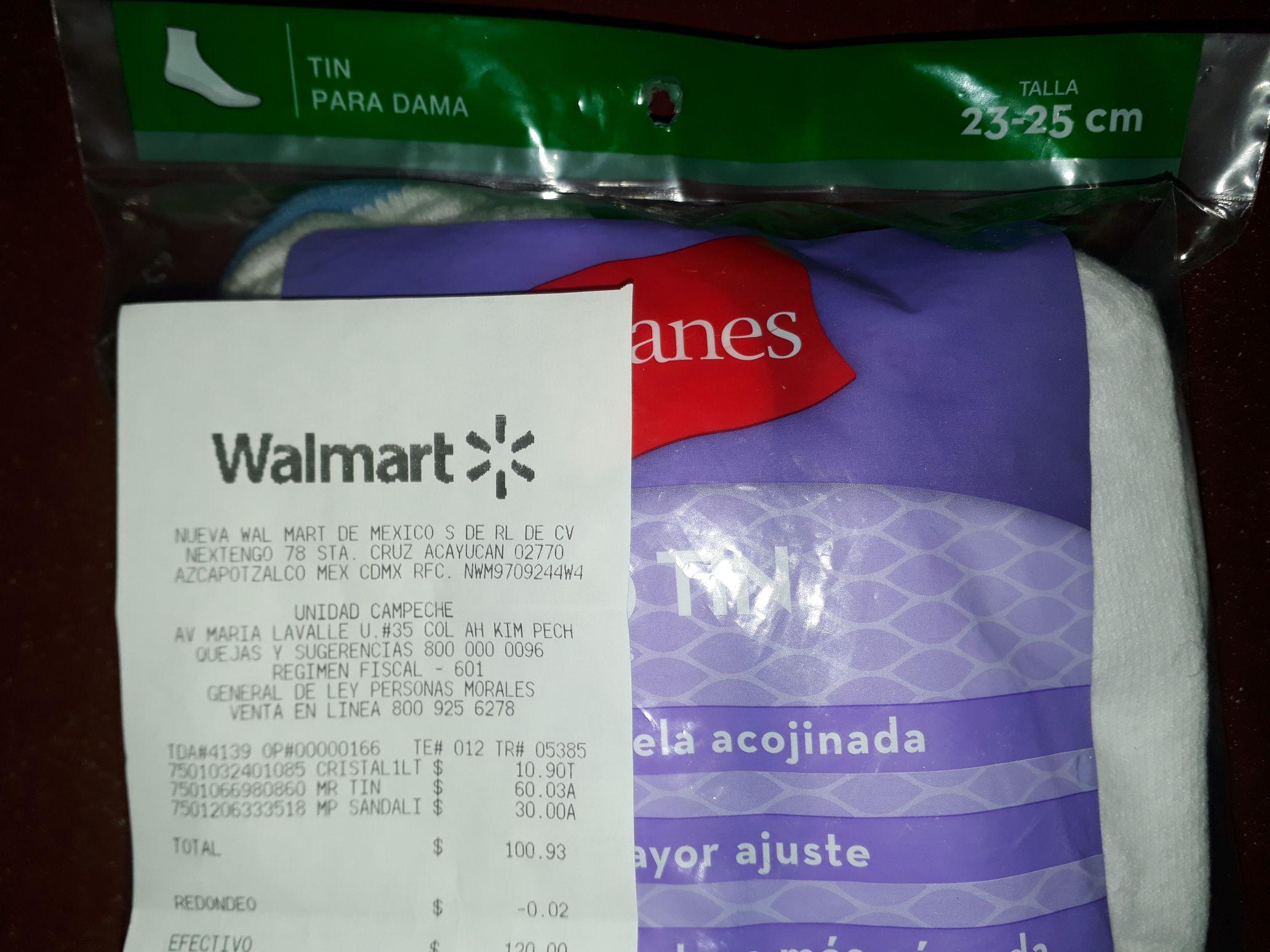 Walmart Campeche, tin para dama en $60.03