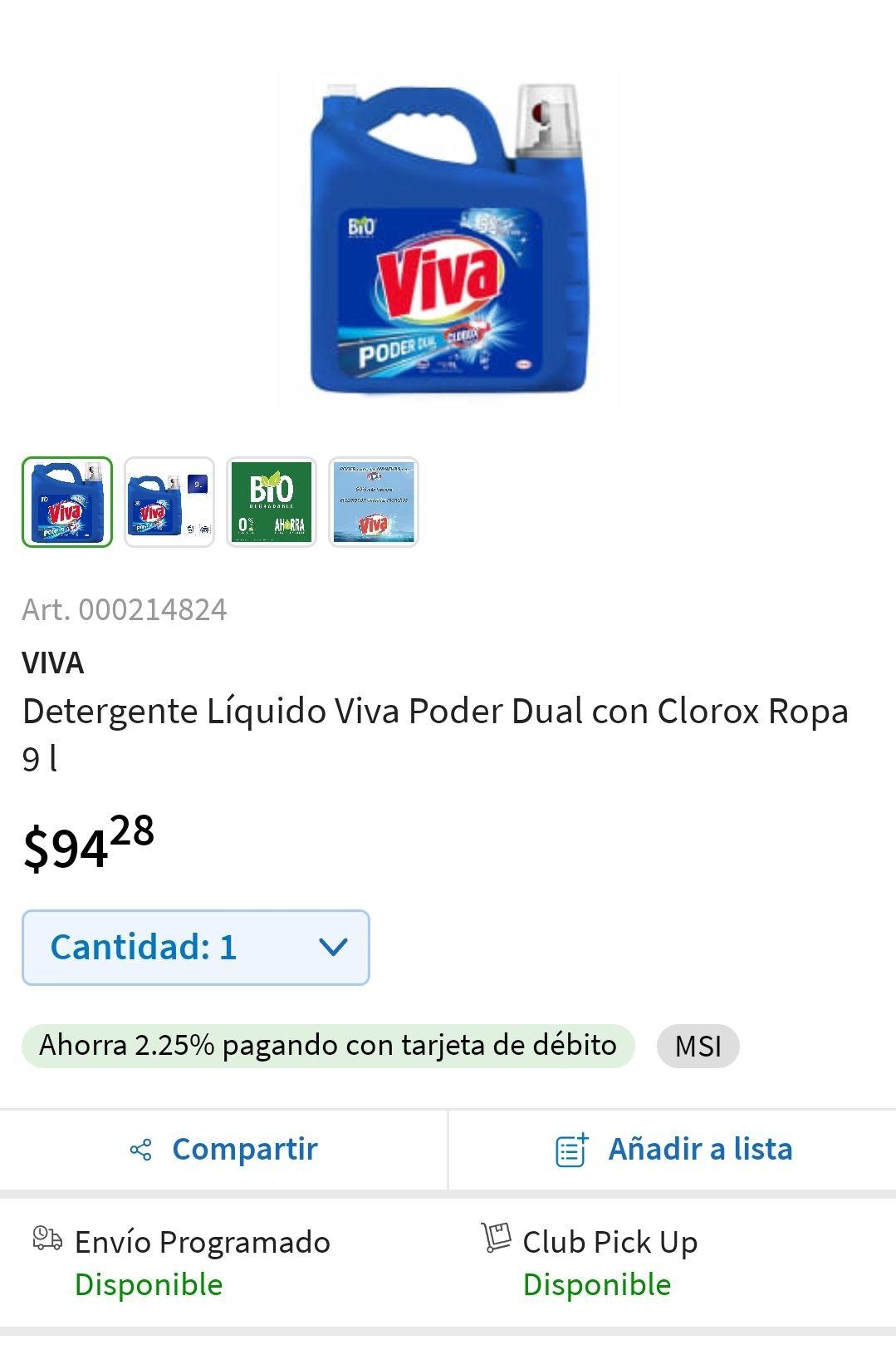 Sam's Club Detergente Líquido Viva Poder Dual con Clorox Ropa 9 l